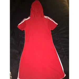 Red hoodie tshirt dress